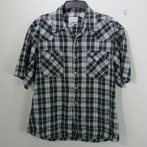 😀👛Point Zero pearl snap button shirt XL blue